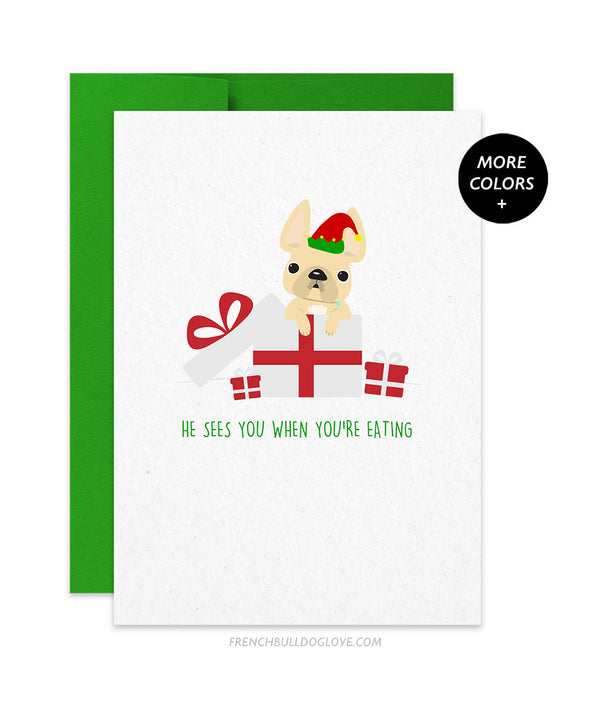 He Sees You French Bulldog Holiday Christmas Card