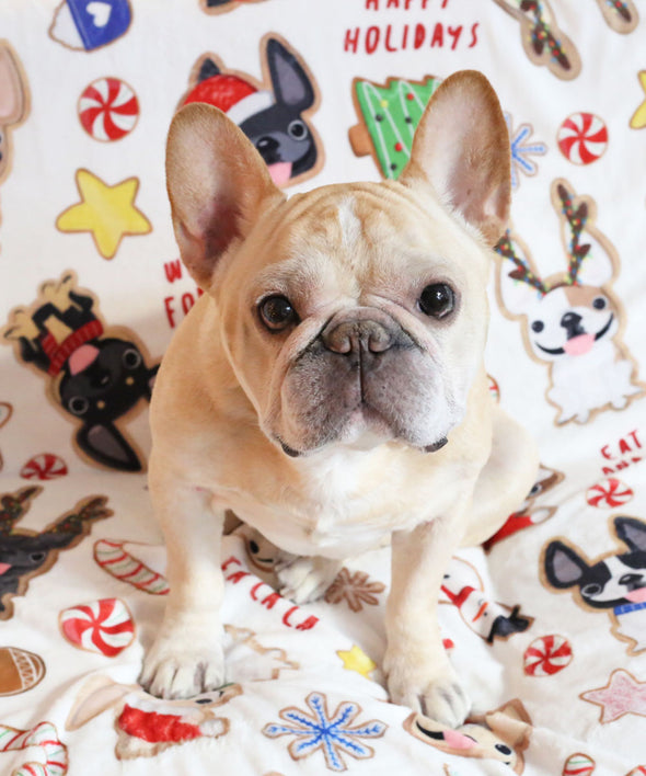 Christmas Cookies - French Bulldog Holiday Fleece Blanket - Large