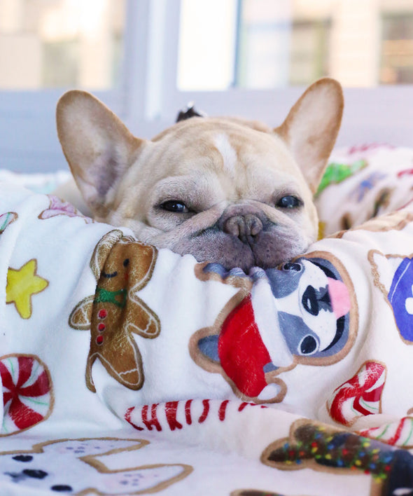 Christmas Cookies - French Bulldog Fleece Blanket - Small