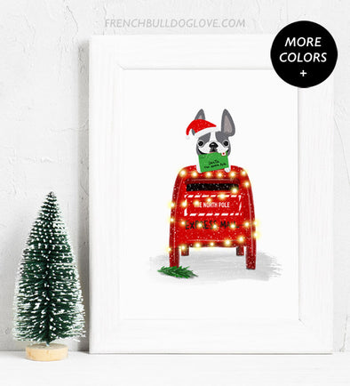 Letters to Santa - French Bulldog Holiday Custom Print 8x10