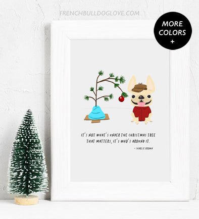 Charlie Brown Christmas Tree - French Bulldog Holiday Custom Print 8x10