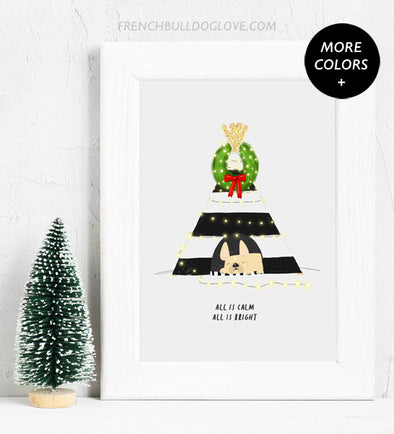 Christmas Teepee - French Bulldog Holiday Custom Print 8x10