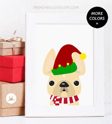 Elf - French Bulldog Holiday Custom Print 8x10
