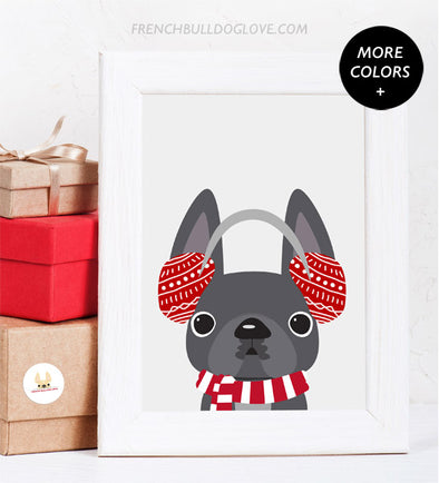Muffs - French Bulldog Holiday Custom Print 8x10