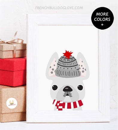 Fuzzy Hat - French Bulldog Holiday Custom Print 8x10