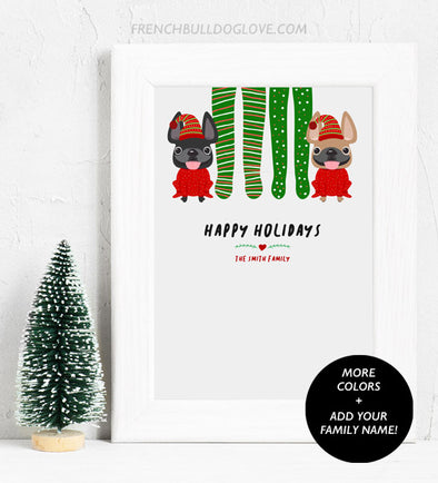 Footy Pajamas - Double Frenchie - French Bulldog Holiday Custom Print 8x10 - Add Your Family Name