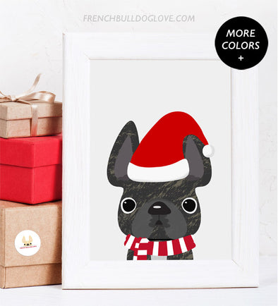 Little Santa - French Bulldog Holiday Custom Print 8x10