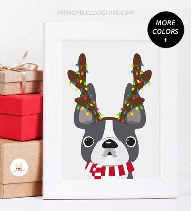 Holiday Print Antlers French Bulldog Holiday Custom Print 8x10