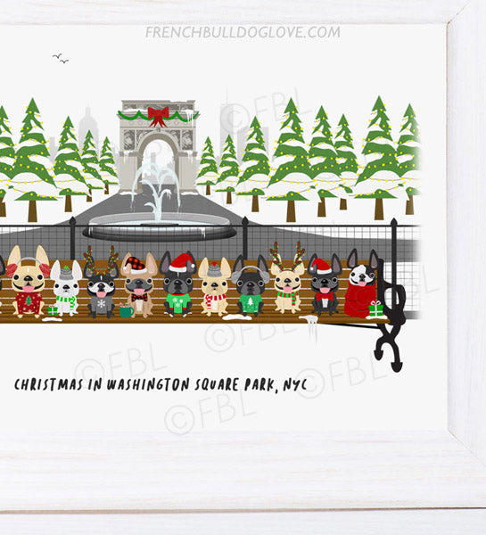Christmas in Washington Square Park NYC - French Bulldog Holiday Dog Print 8x10