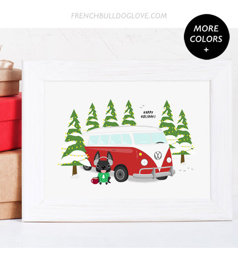 Holiday Camper French Bulldog Holiday Custom Print 8x10
