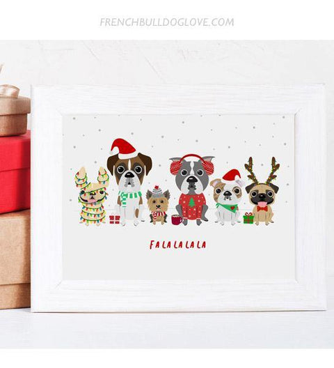 A Dog Park Christmas - French Bulldog Holiday Dog Print 8x10