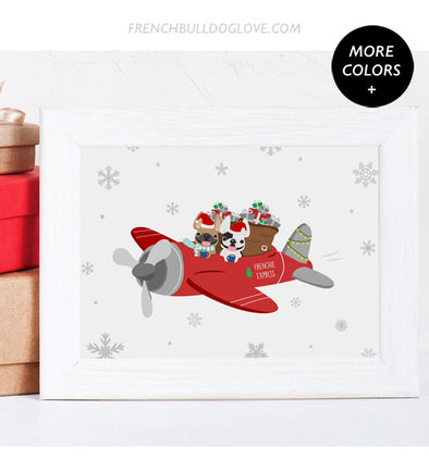 Frenchie Express - French Bulldog Holiday Dog Print 8x10