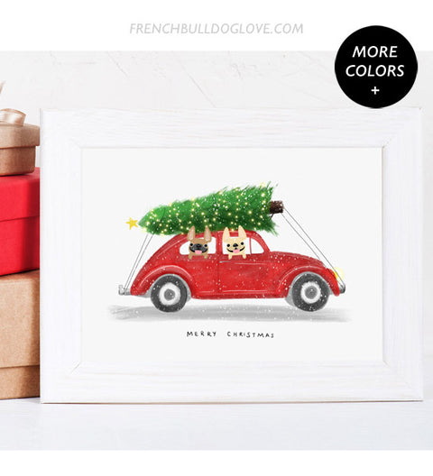 Holiday Buggy - French Bulldog Holiday Dog Print 8x10
