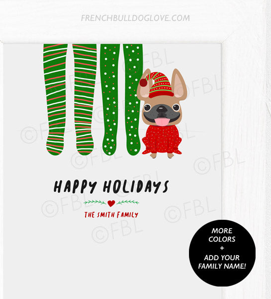 Footy Pajamas - Single Frenchie - French Bulldog Holiday Custom Print 8x10 - Add Your Family Name