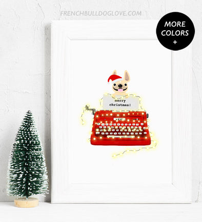 Holiday Typewriter - Red - French Bulldog Holiday Custom Print 8x10