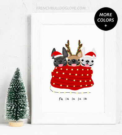 Holiday Snuggles - 3 Frenchies - French Bulldog Holiday Dog Print 8x10