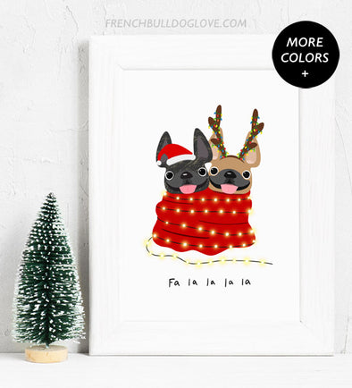 Holiday Snuggles - 2 Frenchies - French Bulldog Holiday Dog Print 8x10