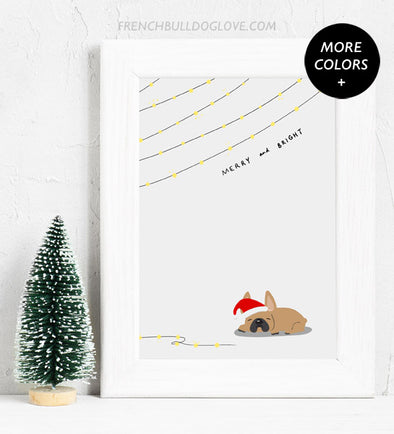 Merry & Bright - French Bulldog Holiday Custom Print 8x10
