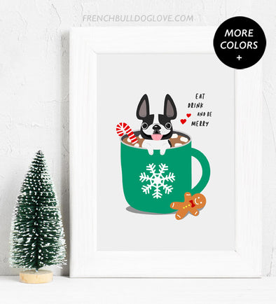 Hot Cocoa - French Bulldog Holiday Custom Print 8x10