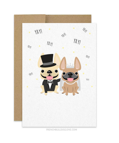 Frenchie Yay! French Bulldog Wedding Card