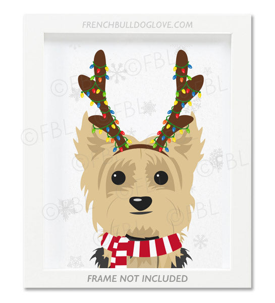 Yorkie With Antlers - Custom Holiday Yorkie Print 8x10