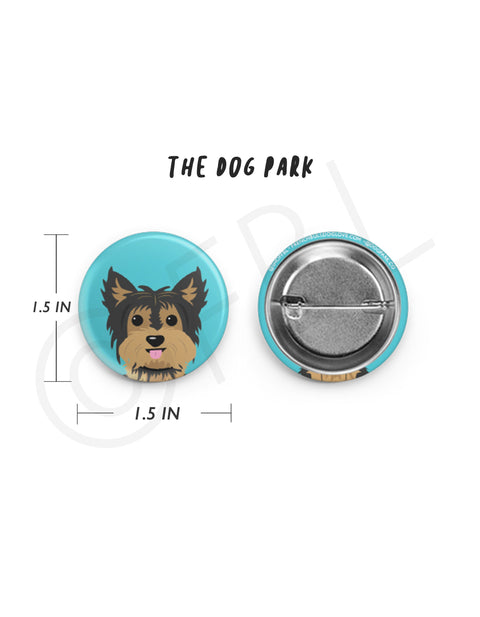 Mini Yorkie Button - 1.5 inch - Black/Tan
