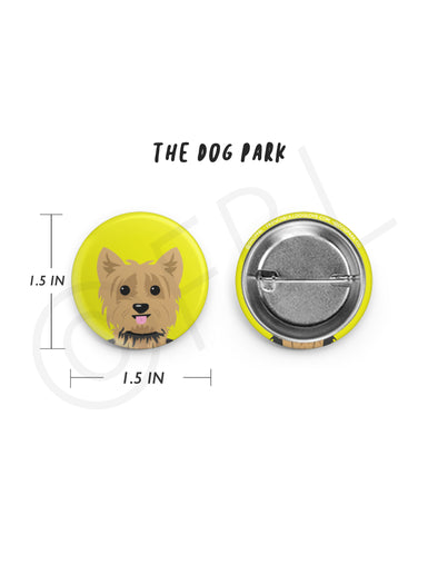 Mini Yorkie Button - 1.5 inch - Tan