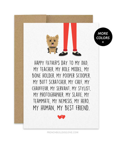 Dad Servant - Yorkie Father's Day Card