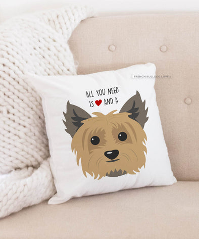 Yorkie Pillow - All You Need is Love & a Yorkie - Dark Tan