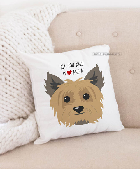 YORKIE - All You Need is Love & a Yorkie Pillow - Tan
