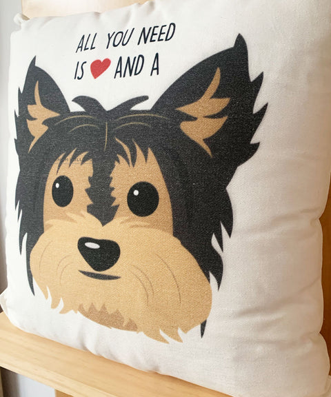 YORKIE - All You Need is Love & a Yorkie Pillow - Black/Tan