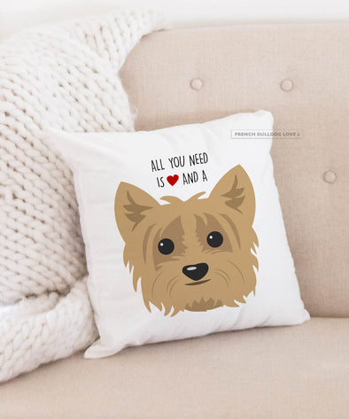 Yorkie Pillow - All You Need is Love & a Yorkie - Tan