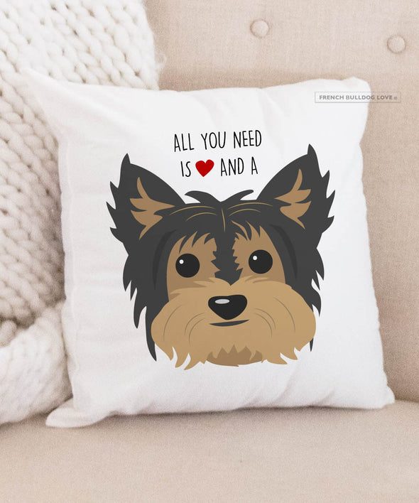 Yorkie Pillow - All You Need is Love & a Yorkie - Black/Tan