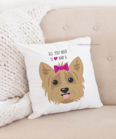 Yorkie Pillow - All You Need is Love & a Yorkie - Tan with Bow