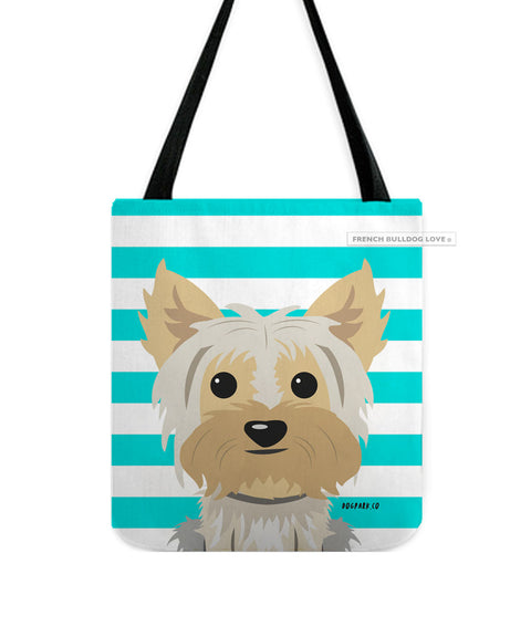 Yorkie - Tan Mix Yorkie - Striped Tote Bag