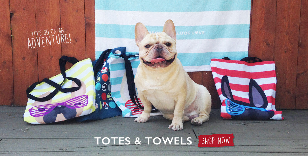 French Bulldog Love tote and towels