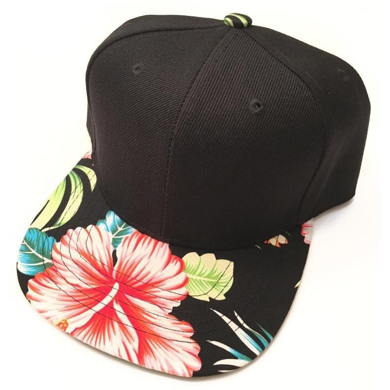 Black Hawaiian Floral Snapback-Little Hooligans Co.