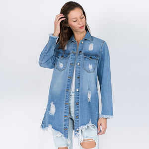 Distressed Oversized Denim Jacket-Little Hooligans Co.