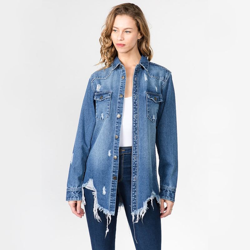 Distressed Oversized Denim Jacket {Medium Wash}-Little Hooligans Co.