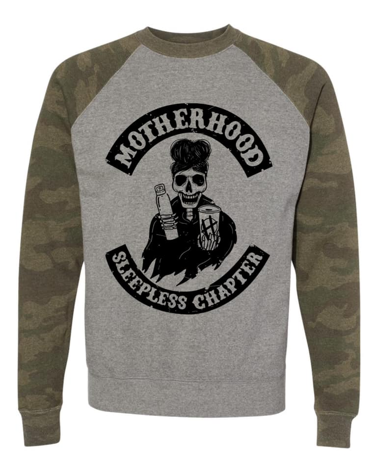 Sleepless Chapter - Unisex Grey/Camo Pullover-Little Hooligans Co.