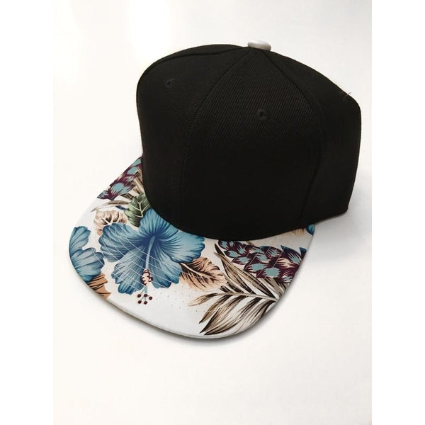 White & Blue Floral Snapback-Little Hooligans Co.