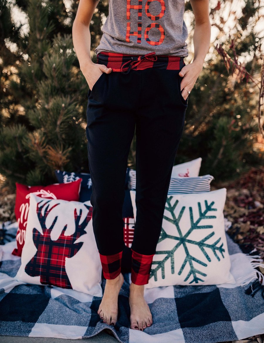 Black Joggers + Red Plaid Cuff (Women's Fit) - Little Hooligans Co.