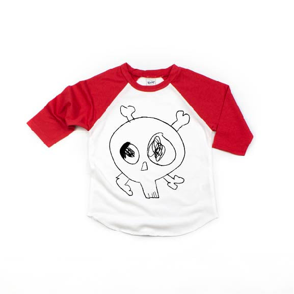 Eastons Skull - Kids Raglan-Little Hooligans Co.