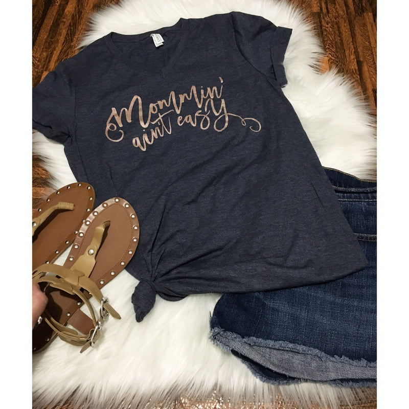 Navy & Rose Gold - Unisex V Neck-Little Hooligans Co.
