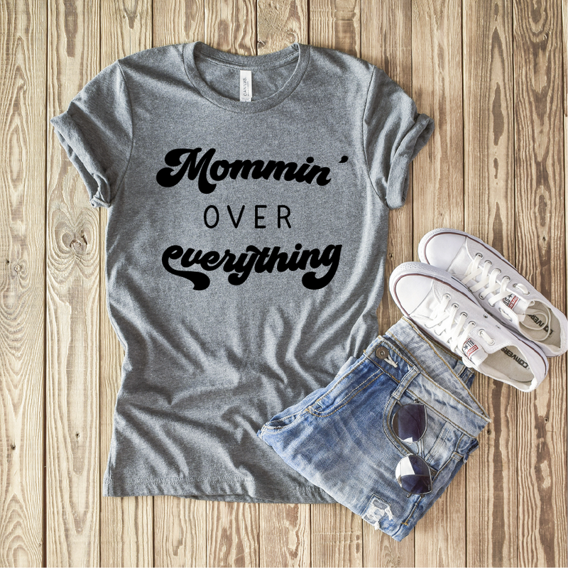 Mommin' Over Everything - Unisex Grey Crewneck-Little Hooligans Co.
