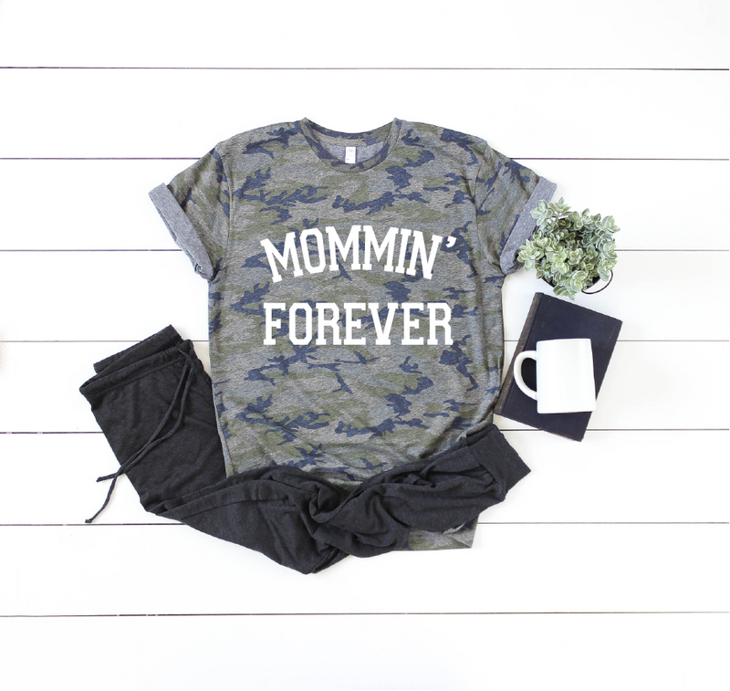 Mommin' Forever - Camo Unisex Tee-Little Hooligans Co.