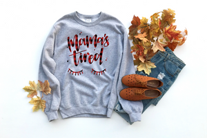 Mama's Tired (Red + Black Plaid) - Unisex Grey Pullover-Little Hooligans Co.