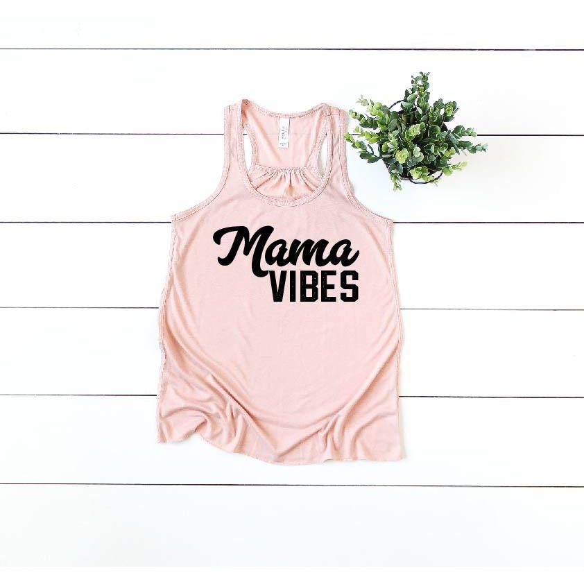 Women's Peach - Mama Vibes {Black}-Little Hooligans Co.