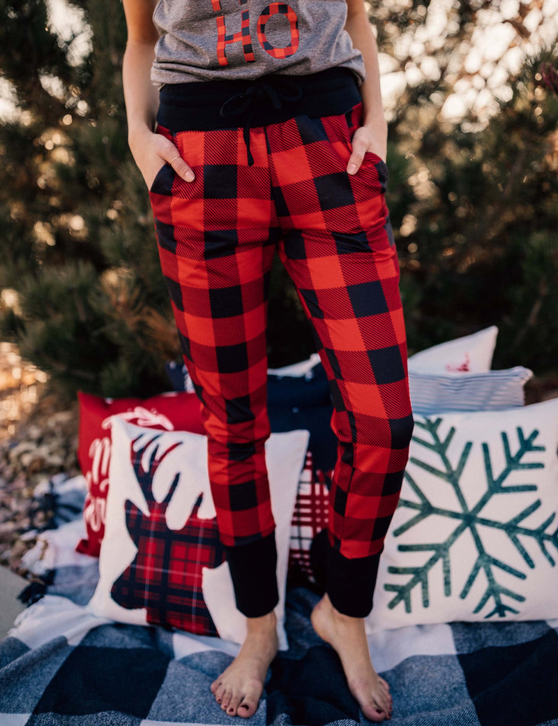 Red Plaid Joggers + Black Cuff (Women's Fit)-Little Hooligans Co.