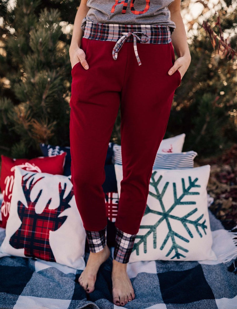 Red Joggers + Red/Grey Plaid Cuff (Women's Fit)-Little Hooligans Co.